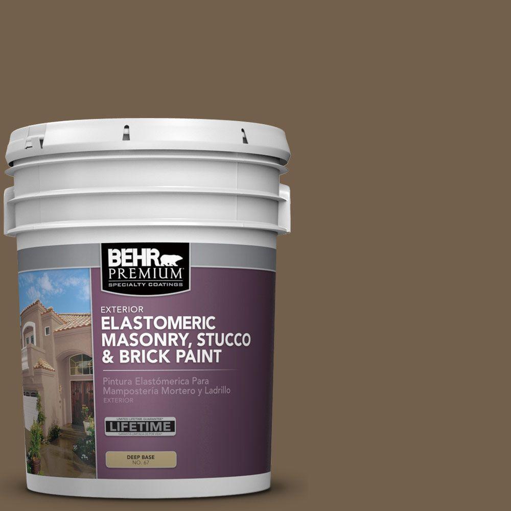 5 gal. #MS-46 Chestnut Brown Elastomeric Masonry, Stucco and Brick Exterior Paint