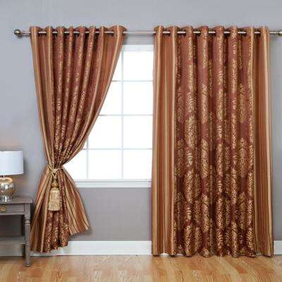 Gold 84 in. L Damask Jacquard Leaf Print Wide Curtain (2-Pack)