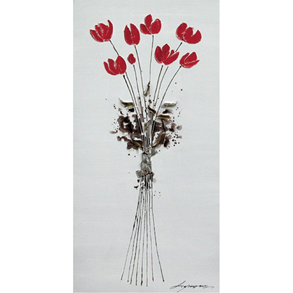 """Yosemite Home Decor 39 in. x 20 in. """"Tulips Bouquet"""" Hand Painted Contemporary Artwork"""