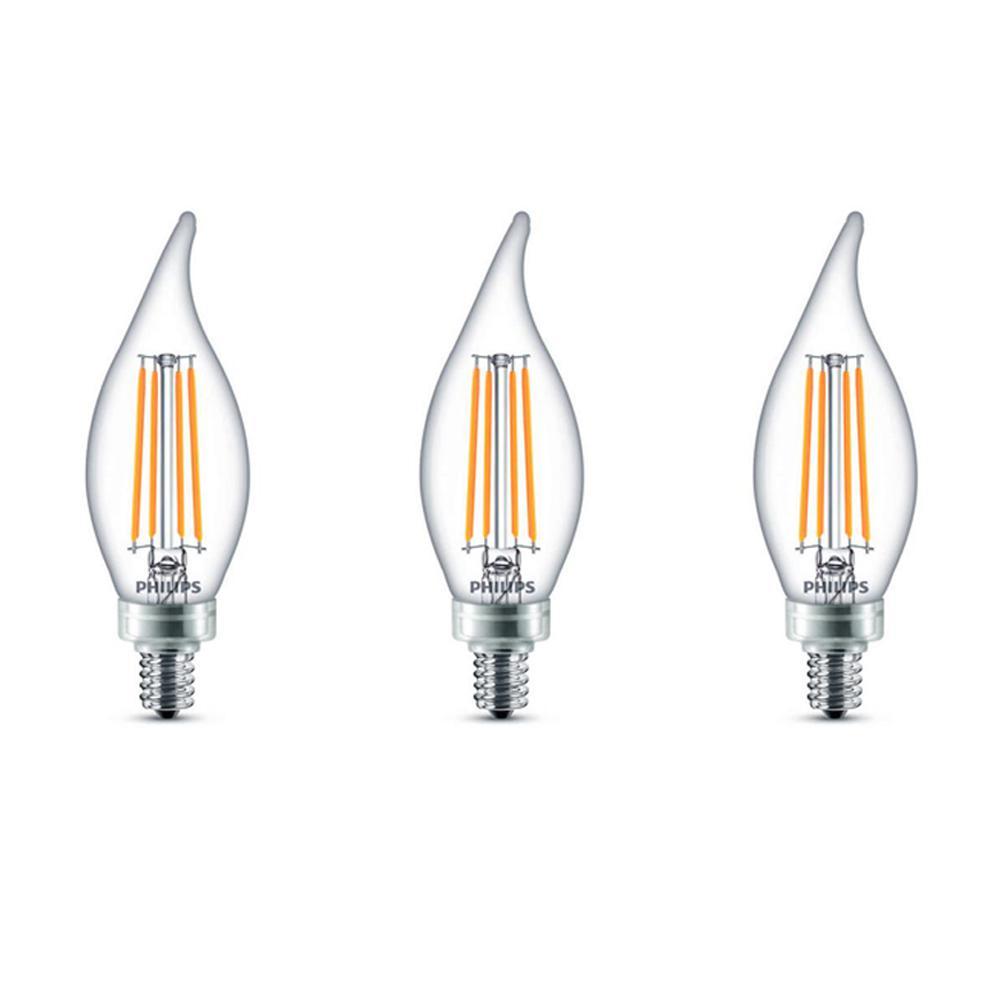 60-Watt Equivalent B11 Dimmable Edison Glass LED Candle Light Bulb Bent Tip Candelabra Base Daylight (5000K) (3-Pack)
