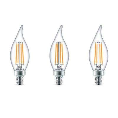 60-Watt Equivalent B11 Dimmable LED Bent Tip Candle Light Bulb Daylight (3-Pack)