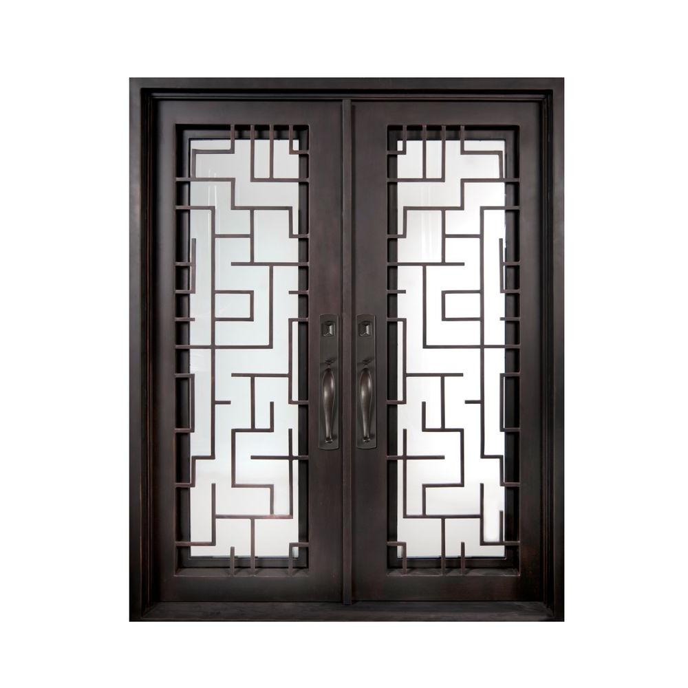 Iron Doors Unlimited 74 in. x 98 in. Bel Sol Classic Full Lite Painted Oil Rubbed Bronze Decorative Wrought Iron Prehung Front Door