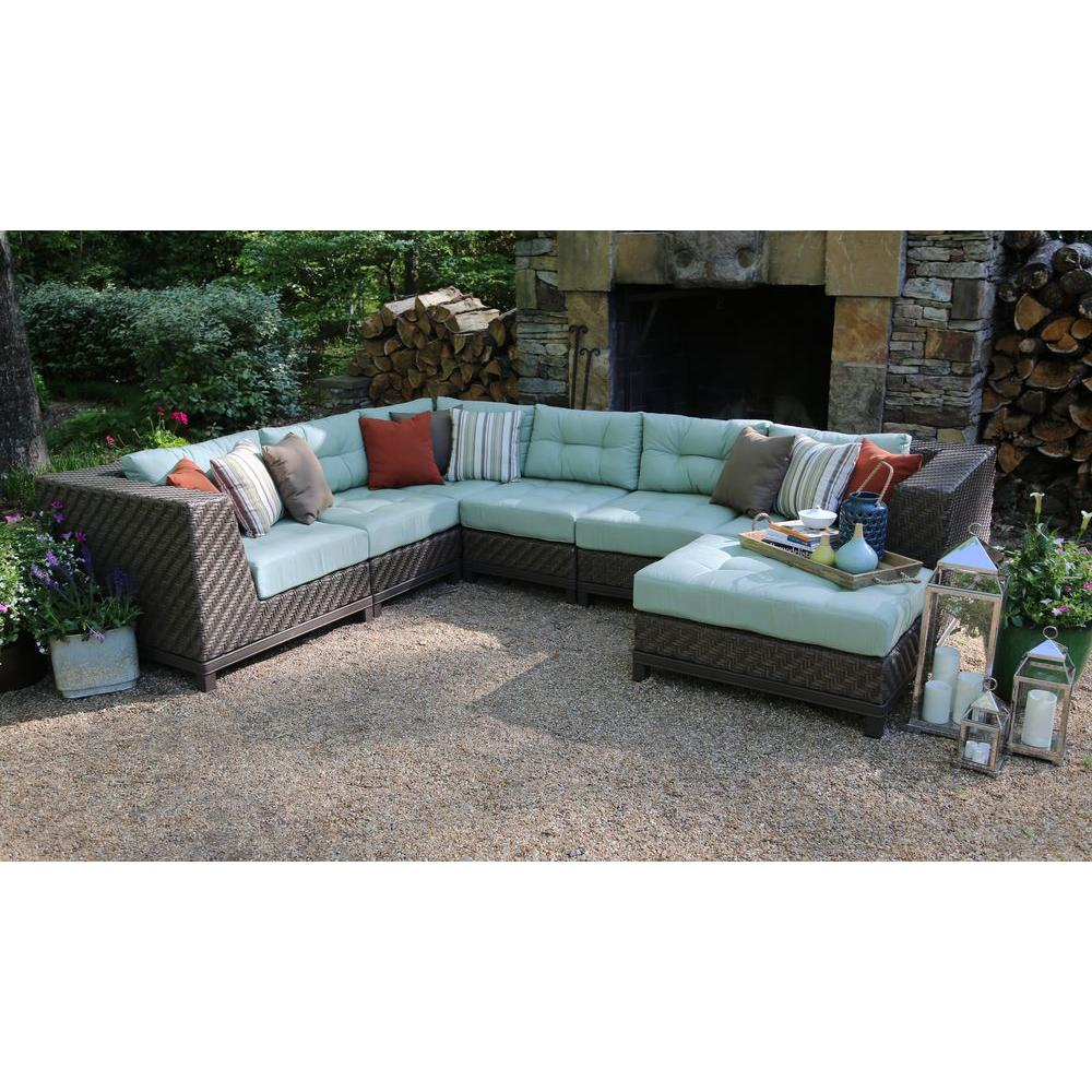 AE Outdoor Dawson 7 Piece Patio Sectional Seating Set With Sunbrella Fabric  With Spa Green