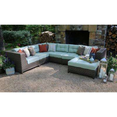 Dawson 7 Piece Patio Sectional Seating Set With Sunbrella Fabric With Spa  Green Cushions