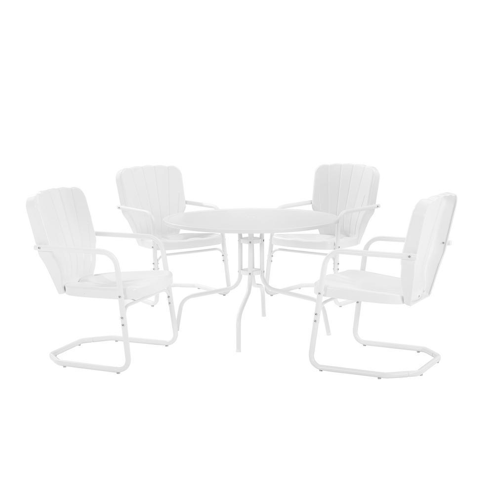 Ridgeland White 5-Piece Metal Outdoor Dining Set