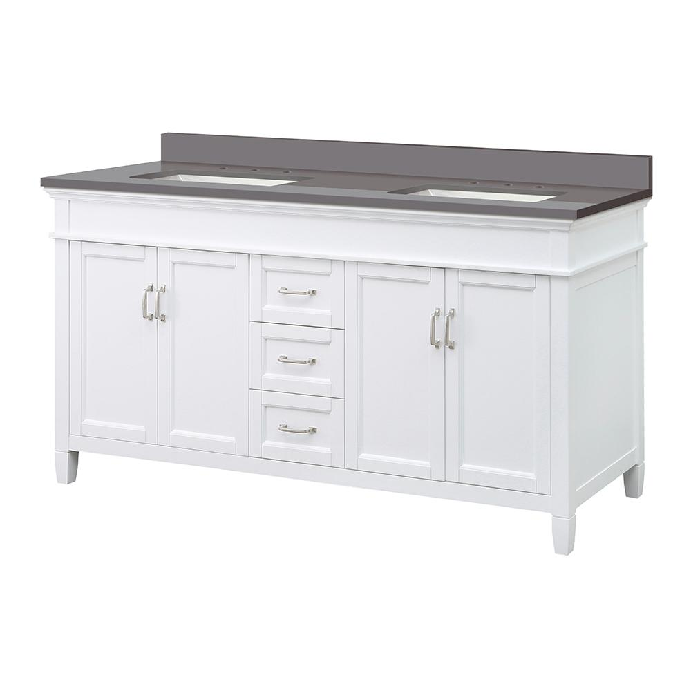 Foremost Ashburn 61 in. W x 22 in. D Vanity Cabinet in White with Engineered Marble Vanity Top in Slate Grey with White Basins