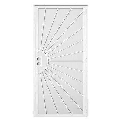 36 in. x 80 in. Solana White Surface Mount Outswing Steel Security Door with Perforated Metal Screen