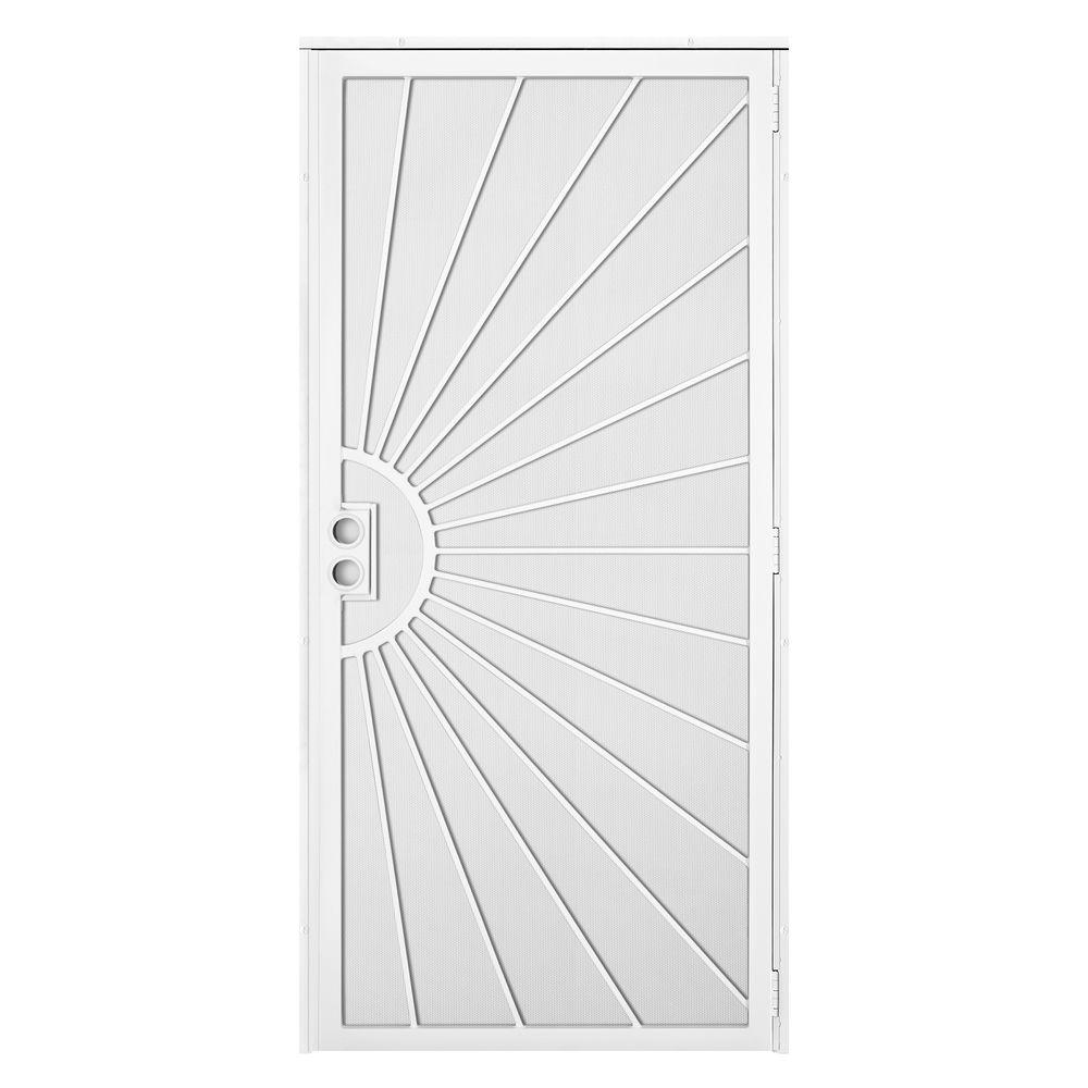 Unique Home Designs 36 in. x 80 in. Solana White Surface Mount Outswing Steel Security Door with Perforated Metal Screen