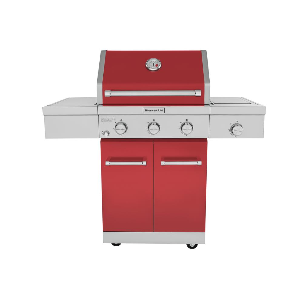 KitchenAid 3-Burner Propane Gas Grill in Red with Ceramic Sear Side Burner