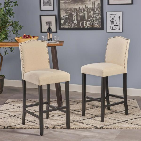 Noble House Markson 30 In Beige Studded Bar Stool Set Of 2 6618 The Home Depot