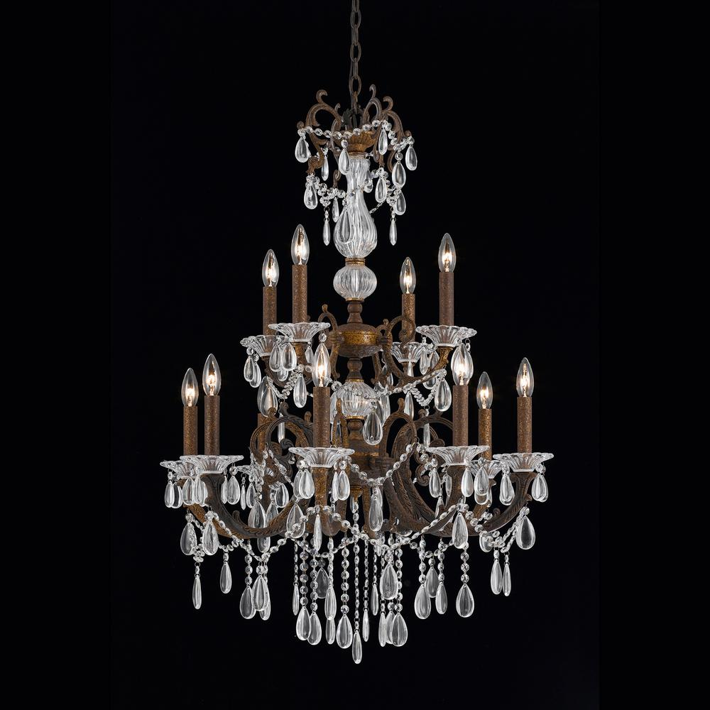 4 light bronze chandelier with crystal tear drop glass shade 1005 03 4 light bronze chandelier with crystal tear drop glass shade 1005 03 04 the home depot arubaitofo Images