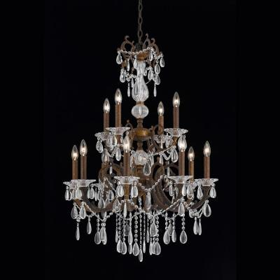 4-Light Bronze Chandelier with Crystal Tear Drop Glass Shade