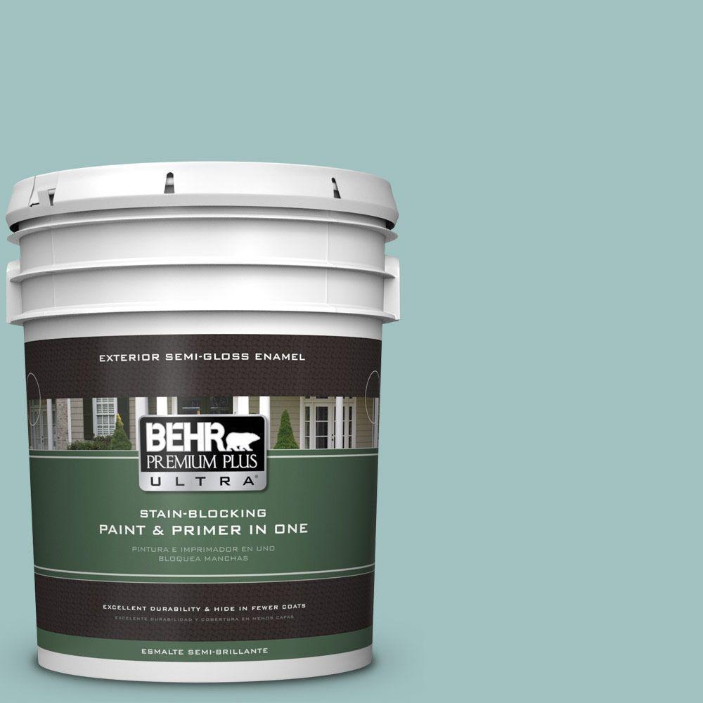 BEHR Premium Plus Ultra 5-gal. #S440-3 Aspiring Blue Semi-Gloss Enamel Exterior Paint