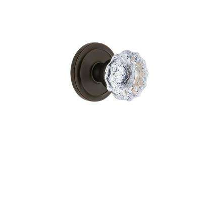 Circulaire Rosette 2-3/4 in. Backset Timeless Bronze Privacy Bed/Bath with Fontainebleau Crystal Door Knob