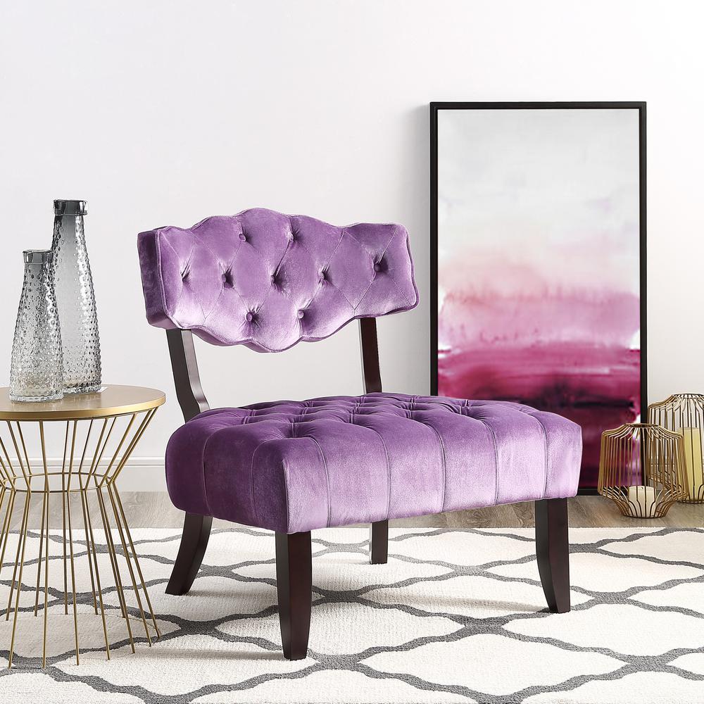 Inspired Home Aniston Purple Velvet Wingback On Tufted Armless Slipper Chair