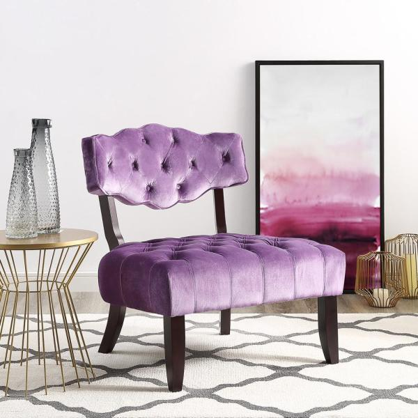 Inspired Home Aniston Purple Velvet Wingback Button Tufted Armless Slipper Chair