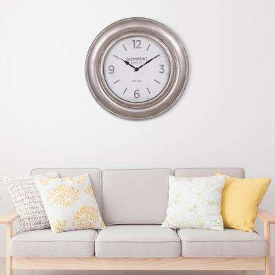 Glenmont Wide Silver Wall Clock