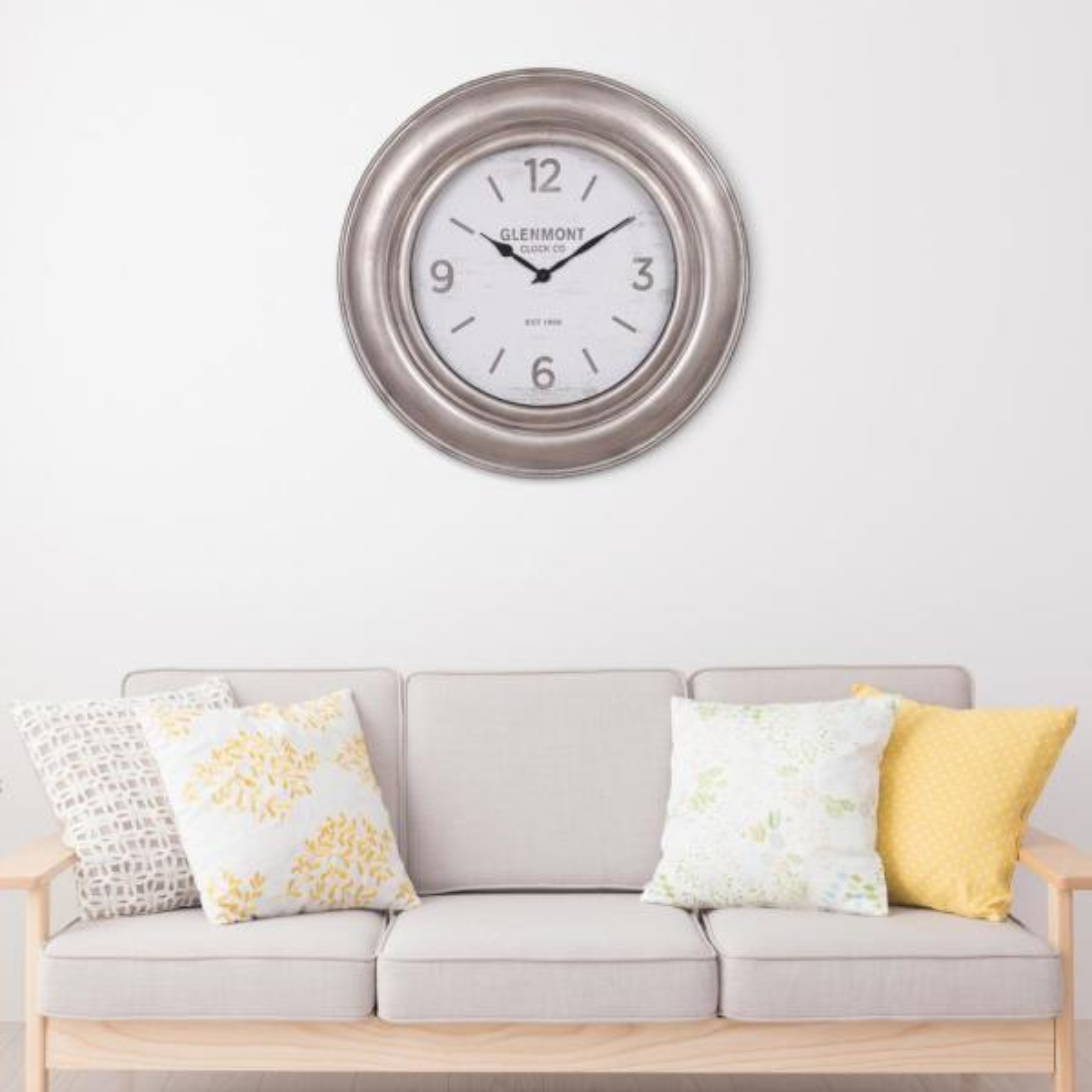 Pinnacle Glenmont Wide Silver Wall Clock 1805-3770