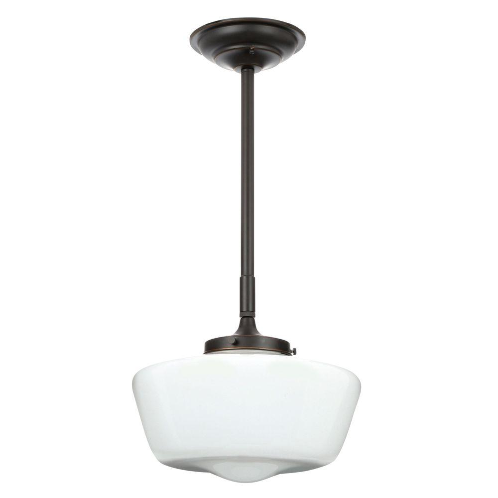 World imports luray collection 1 light oil rubbed bronze pendant world imports luray collection 1 light oil rubbed bronze pendant with schoolhouse white glass shade wi900988 the home depot aloadofball