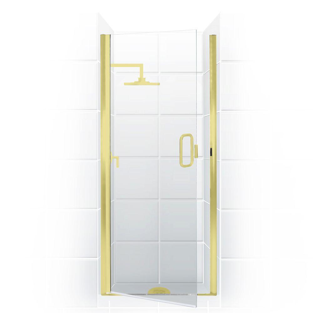 Coastal Shower Doors Paragon Series 24 in. x 74 in. Semi-Framed Continuous Hinge Shower Door in Gold with Clear Glass