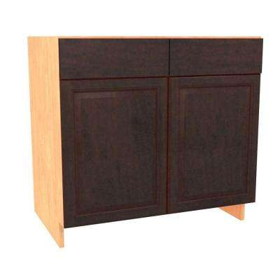 Ancona Ready to Assemble 36 x 34.5 x 24 in. Base Cabinet with 2 Soft Close Doors and 2 False Drawer Fronts in Mocha