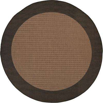 Recife Checkered Field Cocoa Black 8 Ft X Round Indoor