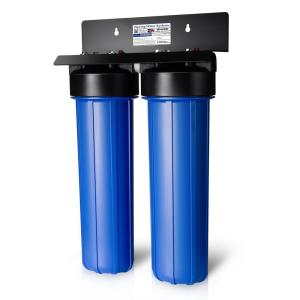 Click here to buy ISPRING 2-Stage Big Blue Whole House Water Filtration System with 20 inch Carbon Block and Iron Manganese Reducing Filter by ISPRING.