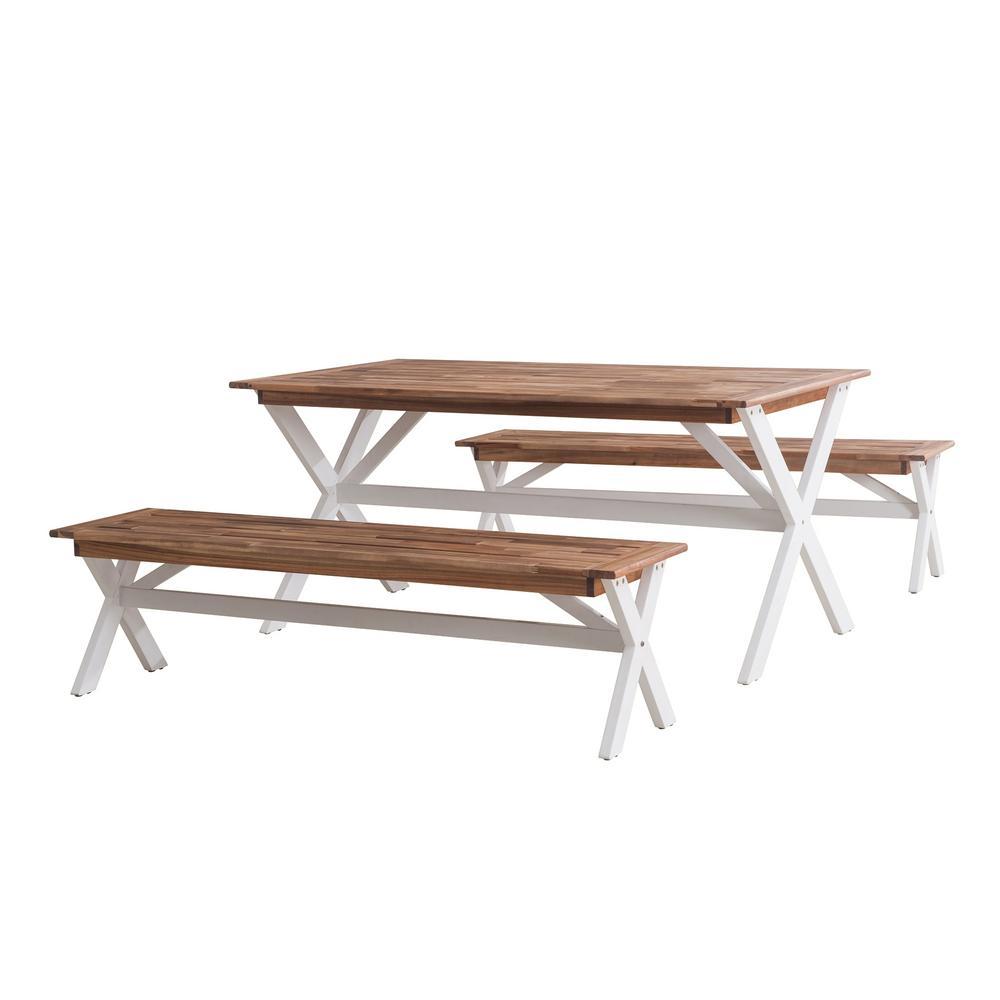 3-Piece Wood Cross-Leg Picnic Outdoor Bistro Set