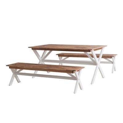 3-Piece Wood Cross-Leg Picnic Outdoor Bistro Set