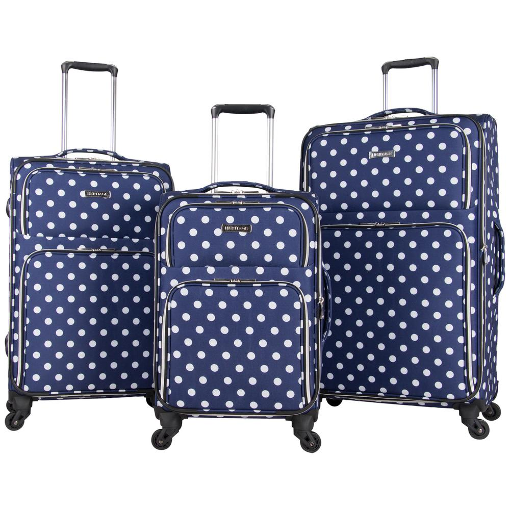 Albany Park - Lightweight Softside Navy/White Polka Dot 3-Piece 20 in./24