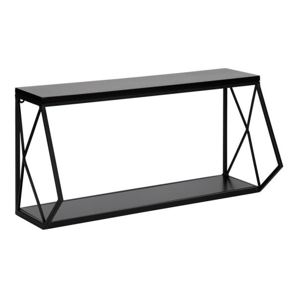 Brost 8 in. x 21 in. x 11 in. Black Metal Floating Decorative Wall Shelf Without Brackets