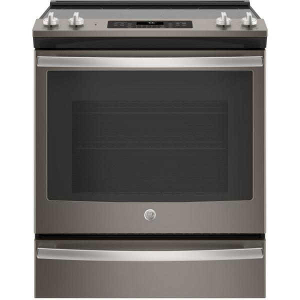 GE 5.3 cu. ft. Slide-In Electric Range with Self-Cleaning Convection Oven in Slate, Fingerprint Resistant