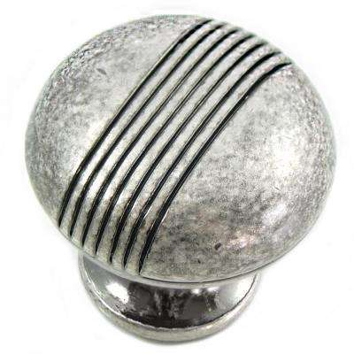 2 in. Distressed Antique Silver Striped Knob
