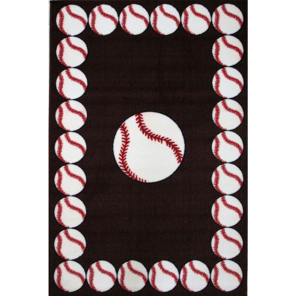 La Rug Fun Time Baseball Multi Colored 2 Ft X Area