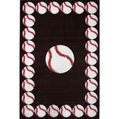Fun Time Baseball Time Multi Colored 3 ft. x 5 ft. Area Rug
