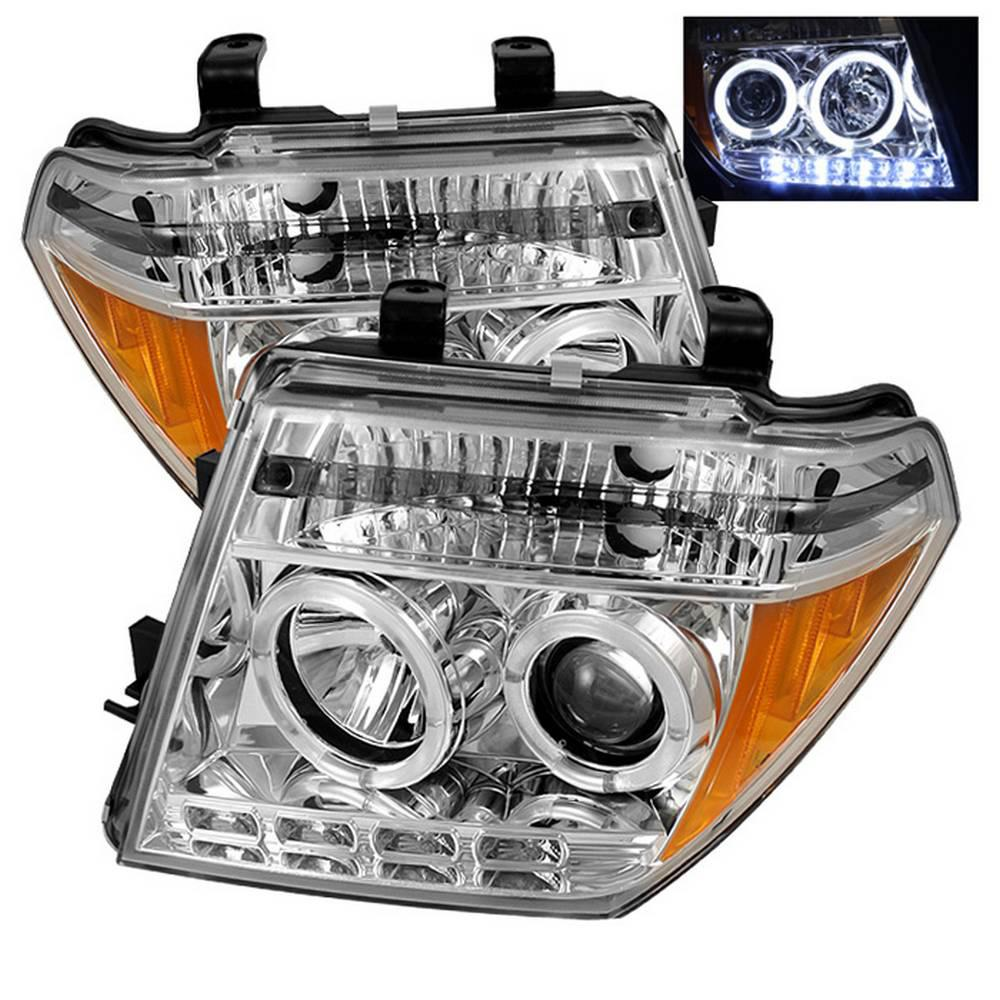 Nissan Frontier 05 08 Pathfinder 07 Projector Headlights Led Halo Replaceable Leds Chrome