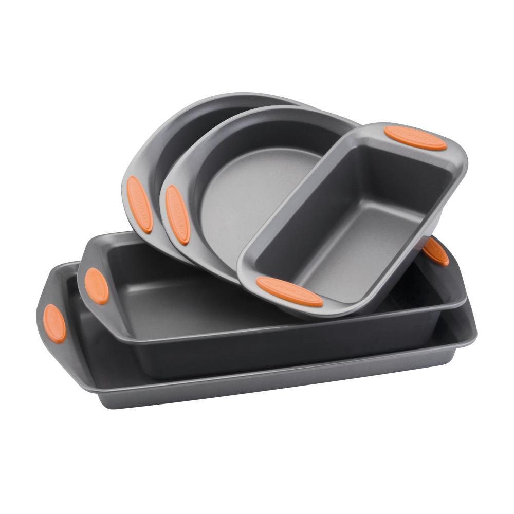 RachaelRay Rachael Ray Oven Lovin' 5-Piece Gray and Orange Bakeware Set, Gray/Orange