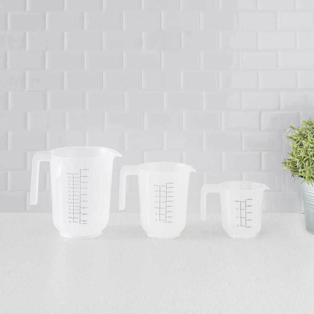 Precise Pour 3-Piece Clear Plastic Measuring Cup Set