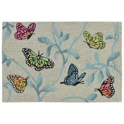 Sinclair Floating Wings Green 2 ft. x 3 ft. Indoor/Outdoor Area Rug