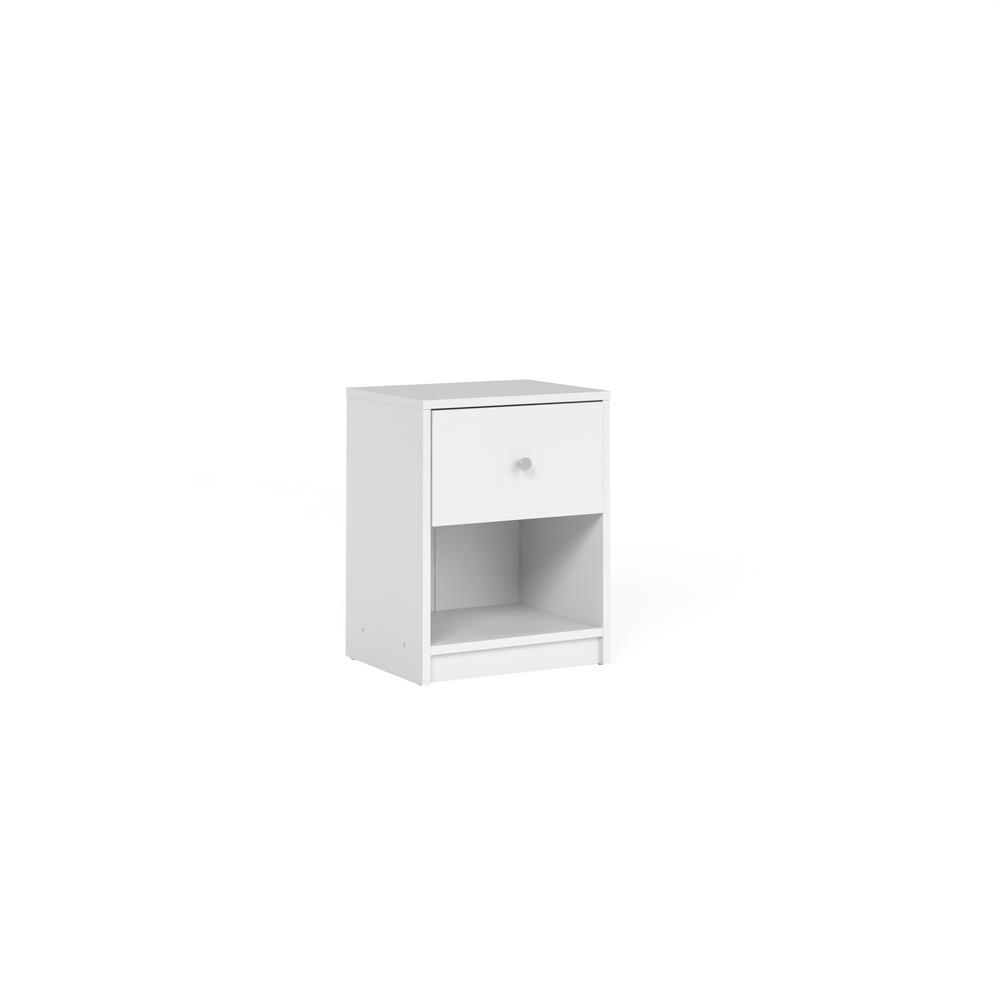 Portland 1-Drawer White Nightstand