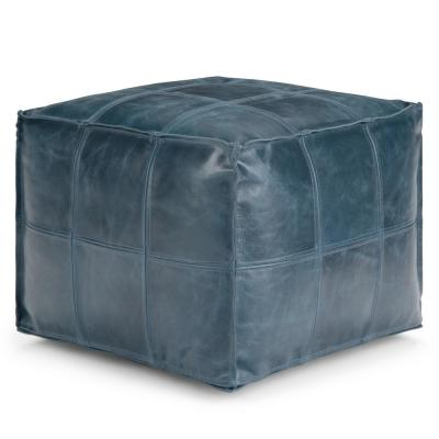 Manning Teal Leather Contemporary Square Pouf