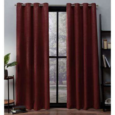 Oxford 52 in. W x 96 in. L Woven Blackout Grommet Top Curtain Panel in Chili (2 Panels)