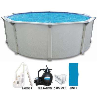24 ft. Round x 54 in. Deep Above Ground Pool Package with Entry Step System and 7 in. Top Rail