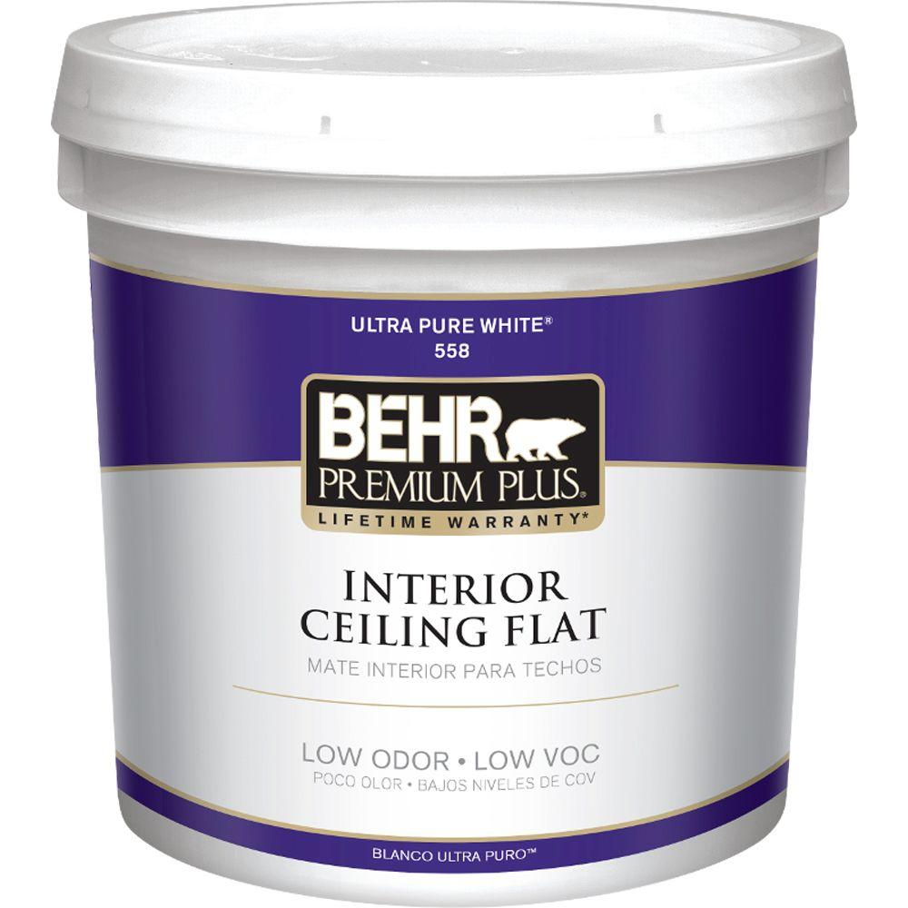 Behr Premium Plus 2 Gal White Flat Ceiling Interior Paint 55802 The Home Depot