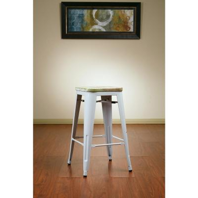 Bristow 26 in. Antique Metal Barstool with Vintage Wood Seat in White Finish Frame and Pine Irish Finish Seat (2-Pack)