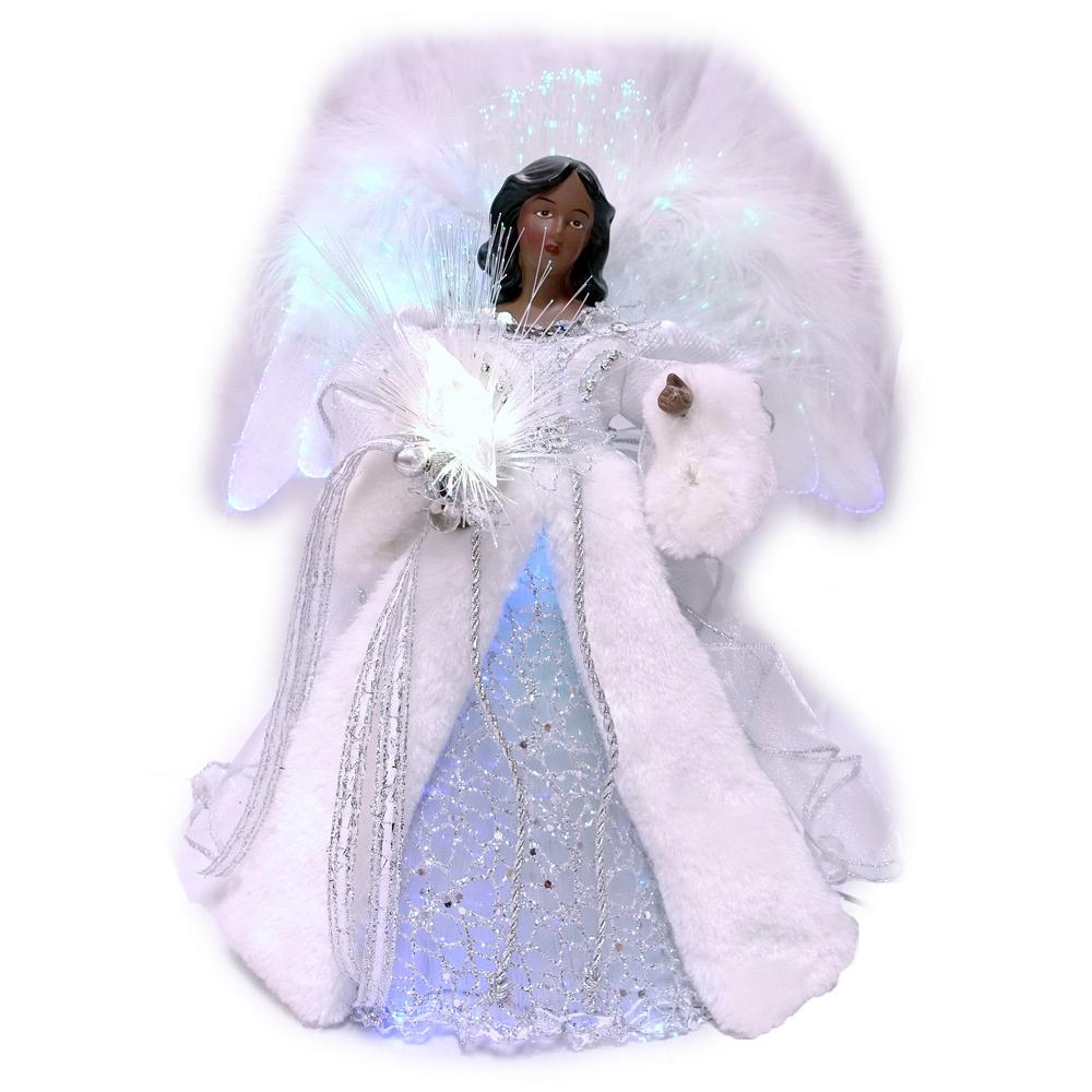 Home Accents Holiday 12 In Af Led Fiber Optic Angel Silver Tree