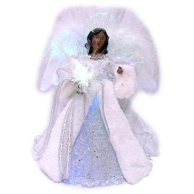 49f1ccfd8b78 Angel 16 in. Silver and White Christmas Tree Topper with Harp-3040 ...