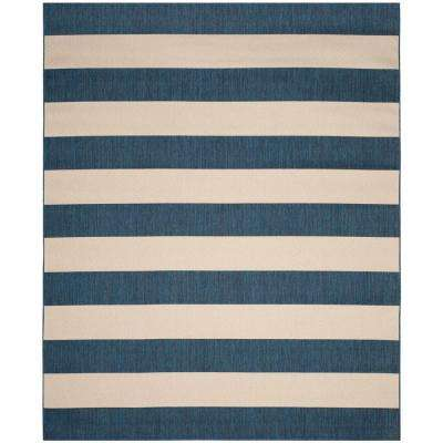 Courtyard Navy Beige 8 Ft X 10 Indoor Outdoor Area Rug