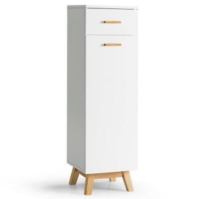 12 in. W x 12 in. D x 40 in. H Bathroom Floor Cabinet with Adjustable Shelve and Sliding Drawer Waterproof Cabinet White