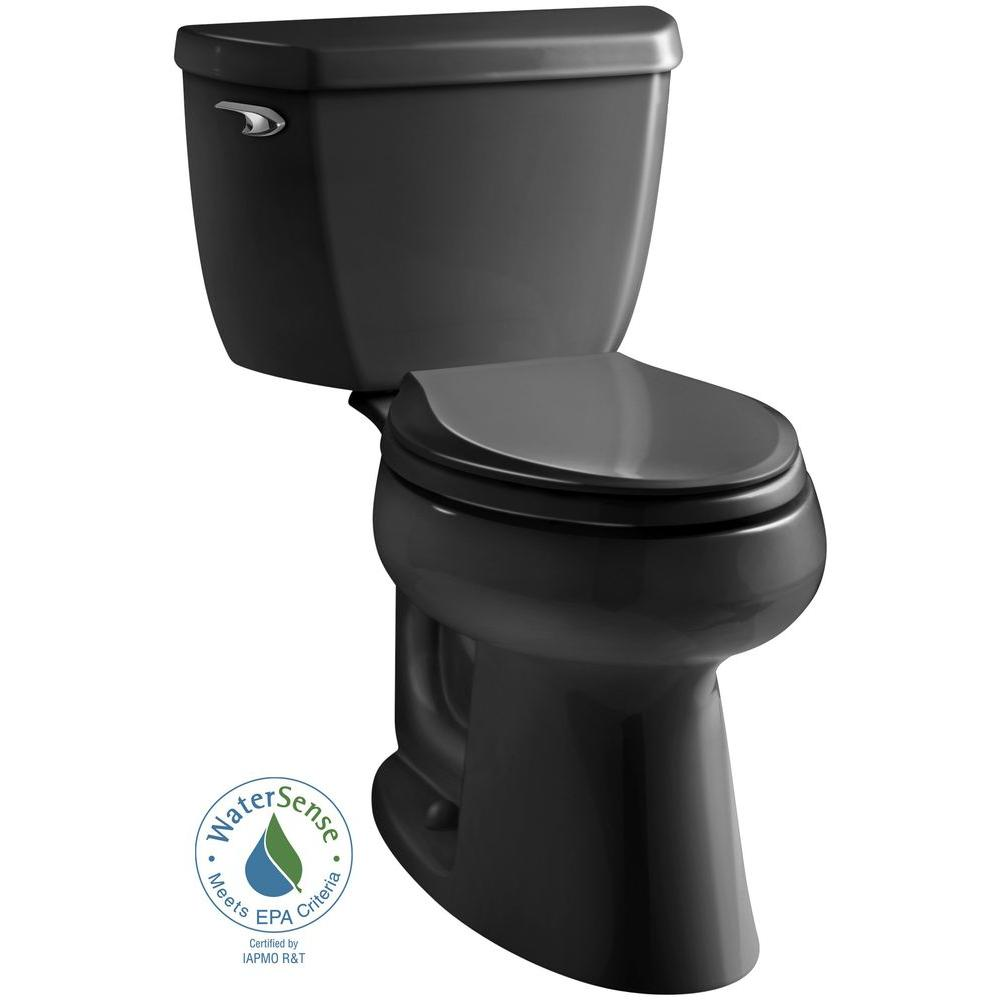 White Toilet With Black Seat. KOHLER Highline 2 piece 1 28 GPF Single Flush Elongated Toilet in Black